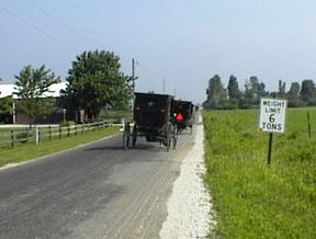 Amish buggies on the road around Arthur Illinois